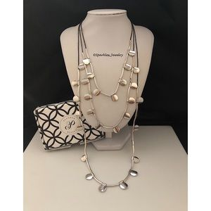 Plunder Promise Necklace Silver Discs & Black Cord